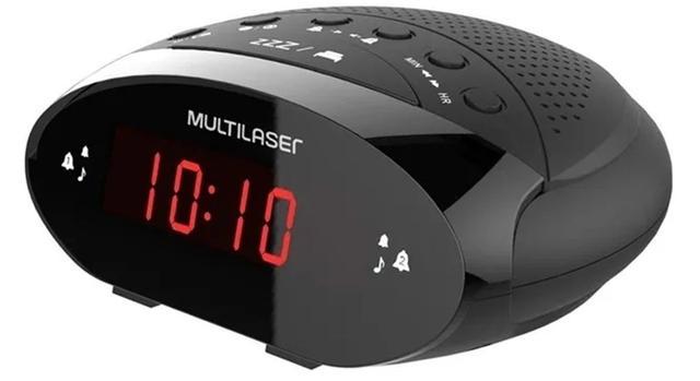 Imagem de Radio Relógio Despertador Digital Fm 3w Soneca Timer Bateria, Caixa de Som, New Multilaser - Sp352