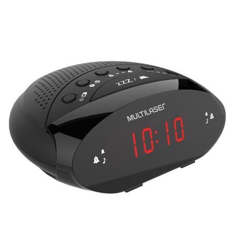Imagem de Rádio Relógio Despertador Multilaser Bivolt FM 3W Preto