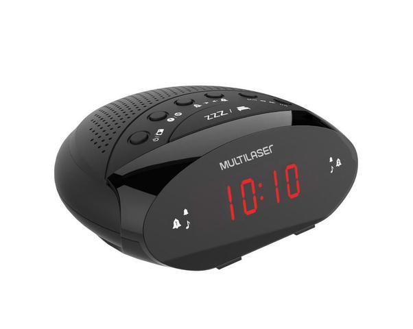 Imagem de Rádio Relógio Despertador Multilaser SP352 Digital FM Alarme com Função Soneca Timer Bateria Backup