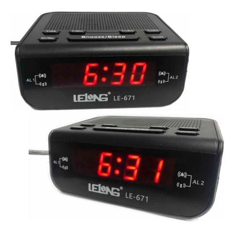Imagem de Rádio relógio digital com despertador Lelong 671