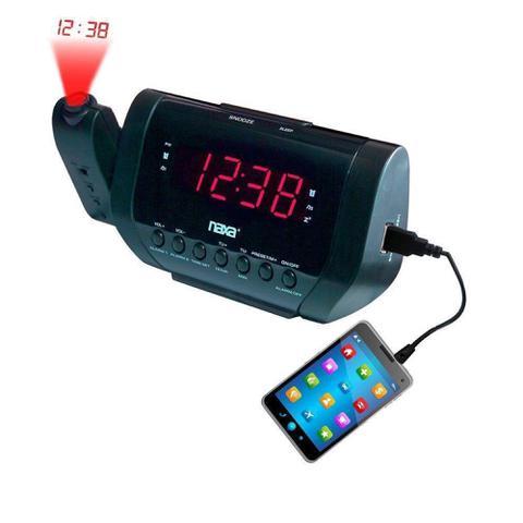 Imagem de Rádio relógio digital com projetor e despertador Lelong