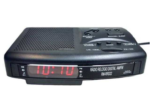 Imagem de Rádio Relógio Digital Motobrás AM/FM - Bivolt - Preto - RM-RRD22