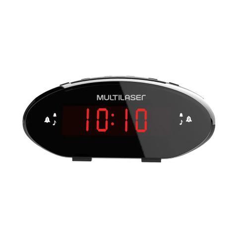 Imagem de Rádio Relógio Digital Multilaser SP352 3W RMS FM com Função Soneca e Bateria Backup Preto - Bivolt