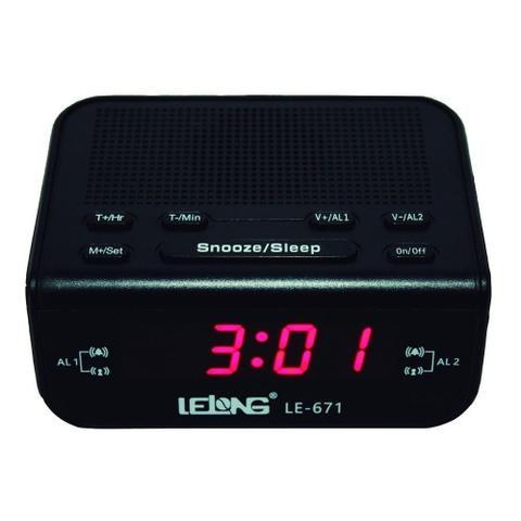 Imagem de Rádio relógio fm despertador soneca visor grande le-671 - lelong
