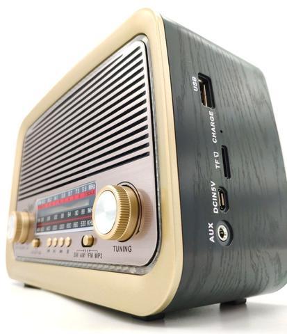 Imagem de Rádio Retro Vintage Am Fm Sw Usb Bluetooth Bateria Recarregavel Aux Sd - Estilo Antigo Madeira