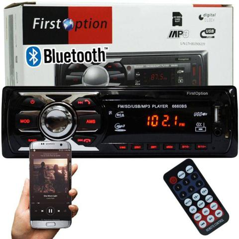 Imagem de Radio Som Mp3 Player Automotivo Carro Bluetooth First Option USB com Controle
