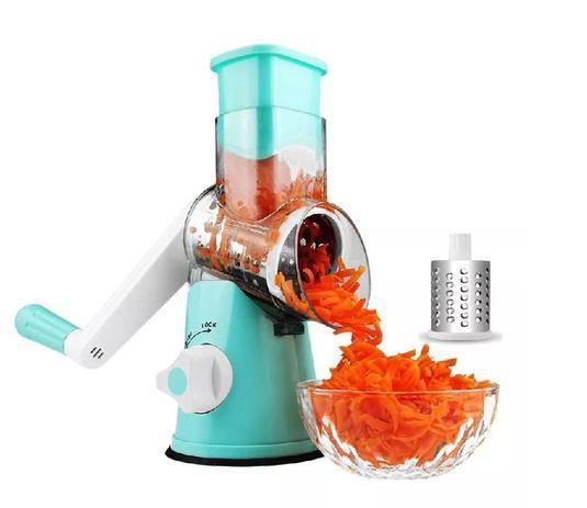 Imagem de Ralador Cortador Processador Fatiador Picador Espiral Queijo Legumes Frutas Verduras 3 Lâminas Inox