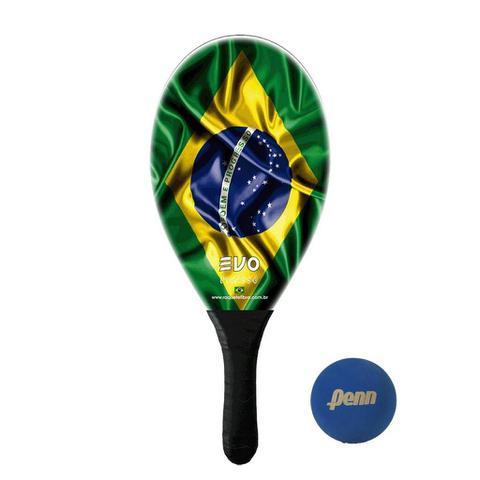 Imagem de Raquete Frescobol Evo Fibra de Vidro Brasil com Bola Penn