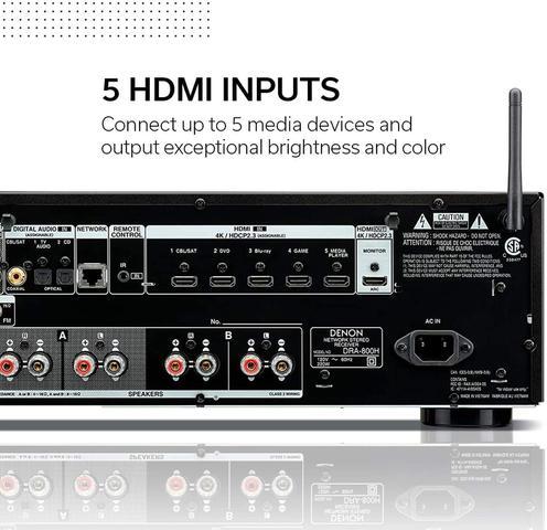 Imagem de Receiver Denon DRA-800H 2-Canais Estéreo Network 4K UHD HDR Bluetooth USB Phono Preto - Denon
