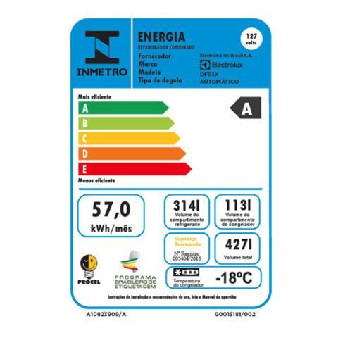 Imagem de Refrigerador Electrolux 2 Portas 427L Frost Free Inox 220v DF53X