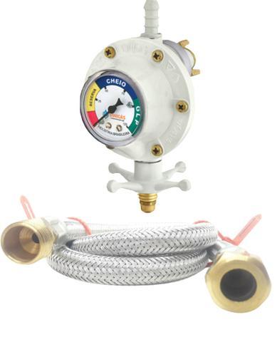 Imagem de Regulador branco com visor medidor grande Mangueira 1mt Fogão Embutir Cooktop Brastemp - Electrolux