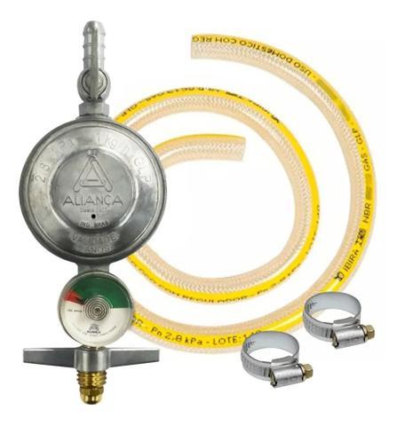 Imagem de Regulador Registro Gás  Visor Medidor Aliança 504 Mang 1mt