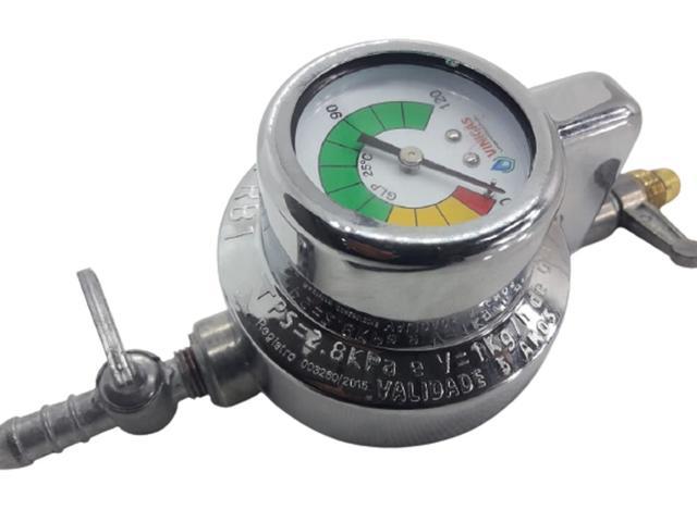 Imagem de Regulador Registro Válvula De Gás com indicador manômetro visor top