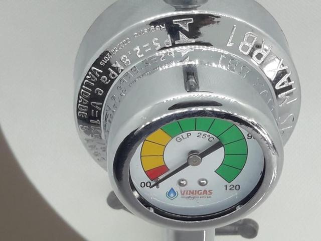Imagem de Regulador Registro Visor Grande top  Mangueira Engate Metálica 1metro