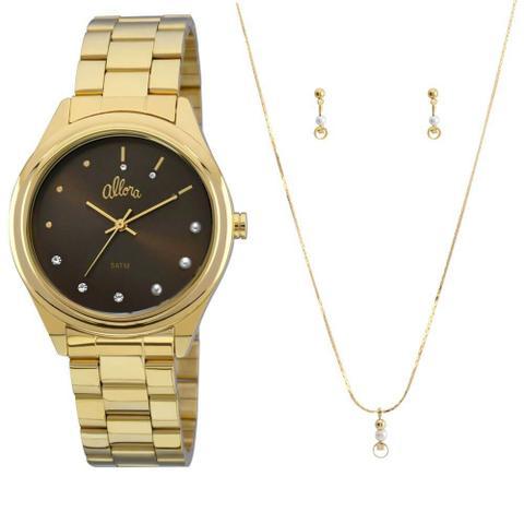 Imagem de Relógio Allora Feminino AL2035FBW/K4C Colar Brincos Dourado