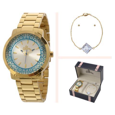 Imagem de Relógio Allora Kit Feminino Dourado - Al2035eyz/k4k