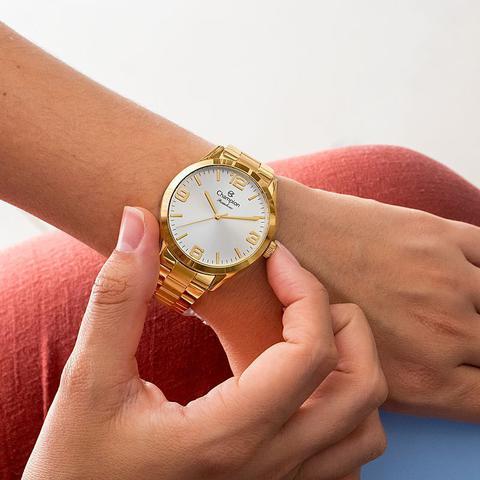 Imagem de Relógio Champion Feminino Analógico Dourado CN29892Z + Kit de Brincos e Colar