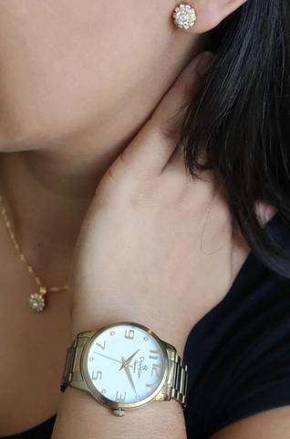 Imagem de Relógio Champion Feminino Dourado Analógico Prova Dagua + Kit Brinde Colar e Brincos