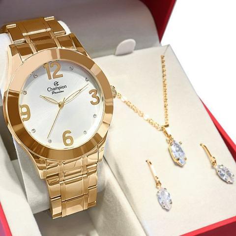 Imagem de Relógio Champion Feminino Dourado Analógico Prova DAgua + Kit Colar e Brincos Garantia de um Ano