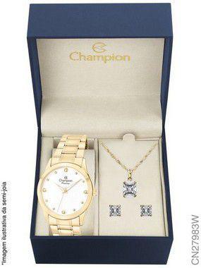 Imagem de Relógio Champion Feminino Dourado Cn27983w Kit Colar Brincos