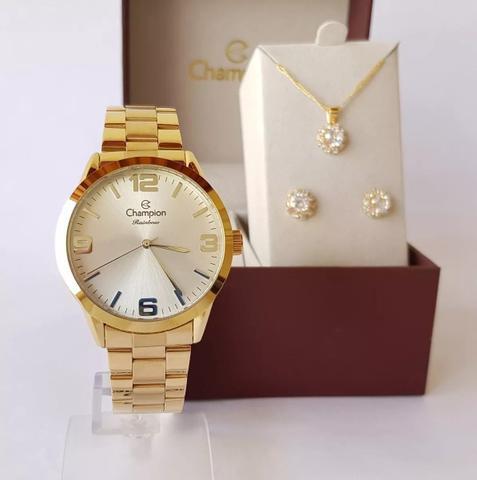 Imagem de Relógio Champion Feminino Dourado Prova DAgua + Kit de Brincos e Colar Garantia De Um Ano