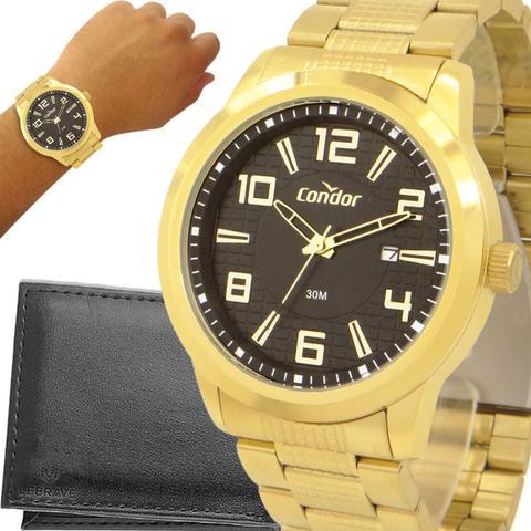 Imagem de Relógio Condor Masculino Dourado Cinza Prova d'água com garantia de 1 ano e carteira