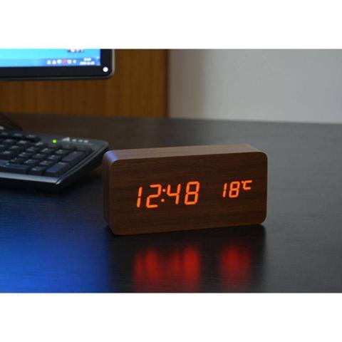 Imagem de Relógio de mesa digital data hora temperatura led sensor