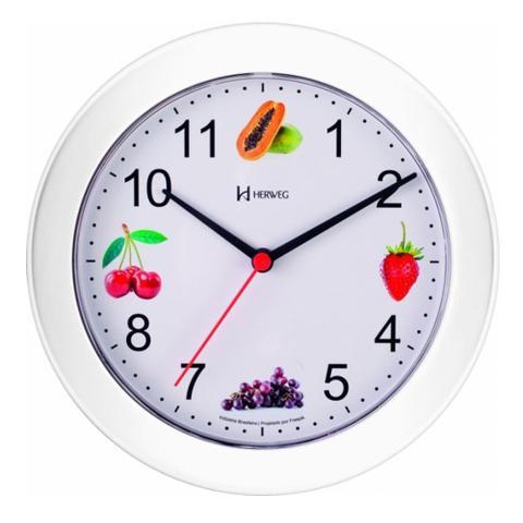Imagem de Relógio de Parede 21 cm Cozinha Branco Frutas Herweg 660070-21