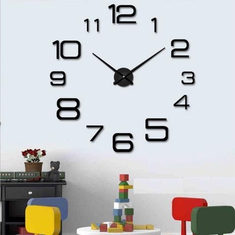 Imagem de Relogio de parede 3d grande 120cm preto casa sala escritorio decoração 1,2m