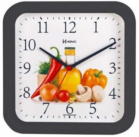 Imagem de Relógio De Parede Decorativo Cozinha Churrasqueira - C/ Garantia de 1 Ano - Ref 660001 - Preto