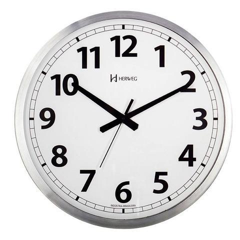 Imagem de Relógio de parede grande analógico mecanismo step fundo branco alumínio escovado herweg