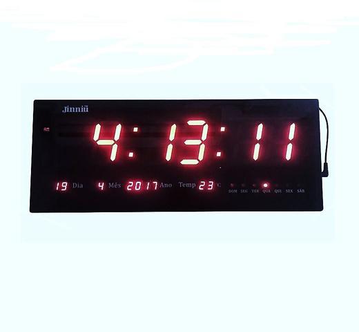Imagem de Relógio de Parede LED Digital Gigante Com Alarme Calendário e Termômetro