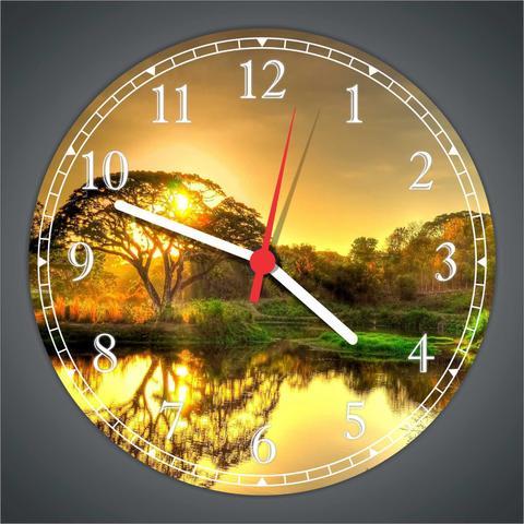 Imagem de Relógio De Parede Paisagem Árvores Lago Sol Natureza Salas Cozinhas Decoração