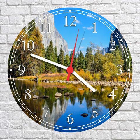 Imagem de Relógio De Parede Paisagem Lago Pedras Árvores Natureza Salas Cozinhas Decoração