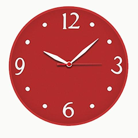 Imagem de Relógio de Parede Vermelho Silencioso Redondo Quartz 30cm