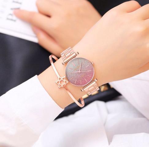 Imagem de Relógio de Pulso Feminino Dourado Rose Visor Estrelado Rosa em Quartzo