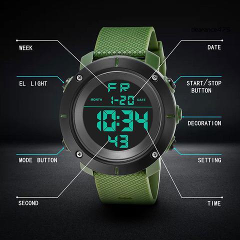 Imagem de Relógio de Pulso KAK Masculino Militar Digital Esportes Data Hora Alarme Cronômetro cor: Verde