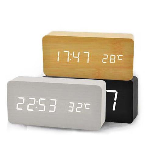 Imagem de Relógio Despertador Mesa Digital Tipo Madeira Com Sound Control