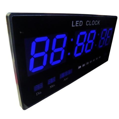 Imagem de Relógio Digital LED 46CM Bivolt Data Termometro Azul de parede