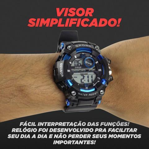 Imagem de relógio digital masculino pulseira ajustável silicone alarme e cronometro