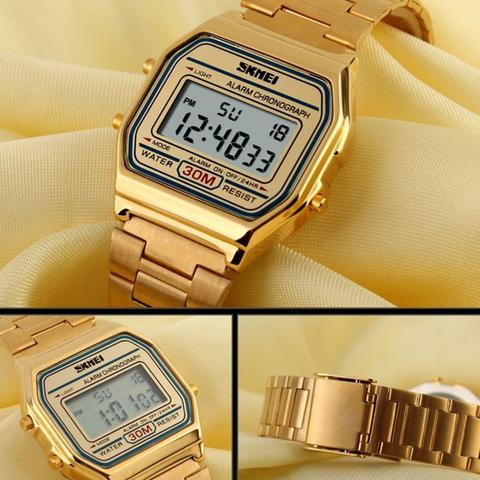Imagem de Relógio Digital Vintage Dourado Skmei 1123 Original + Pulseira
