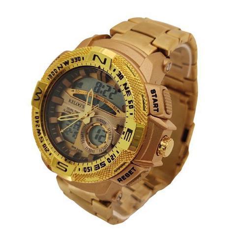 Imagem de Relógio Dourado Funcional Aço Inoxidável Analógico/Digital