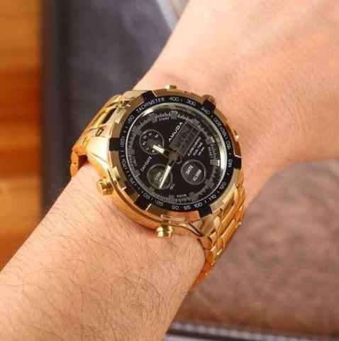 Imagem de Relógio Dourado Prata Masculino Amuda Luxo - Modelo 2002