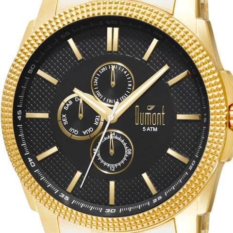 Imagem de Relógio Dumont Masculino Dourado DU6P27AC/4P Analógico 5 Atm Cristal Mineral Tamanho Extra Grande