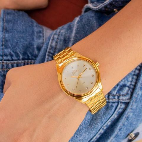 Imagem de Relógio Feminino Allora Analógico Dourado + Kit Colar e Brincos AL2035FBW/K4D