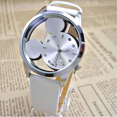 Imagem de Relógio Feminino de Pulso Branco Mickey Mouse Transparente