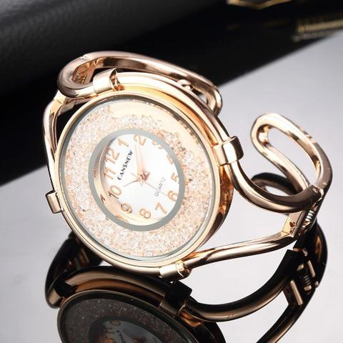 Imagem de Relógio Feminino Dourado Quartz modelo Pedras Brilhantes