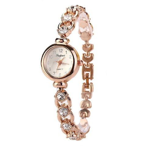 Imagem de Relógio Feminino Dourado Quartz Pulseira Com Pedras E Strass