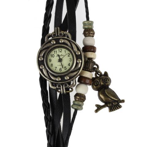 Imagem de Relógio Feminino Pulseira de Couro com Pingente de Coruja