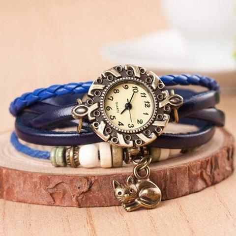 Imagem de Relógio Feminino Pulseira de Couro Pingente Gato Azul